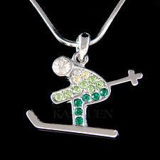 w Swarovski Crystal ~Green Skier~ Alps Alpine Skiing Skis Skate Necklace Jewelry