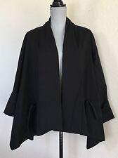 Lafayette 148 Black Swing Asymmetric Cotton Blend Jacket Open Front Lagenlook M