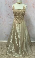GOLD EVENING DRESS EMBROIDERED ORGANZA FIT FLARED CORSET COSPLAY LARP COSTUME 16