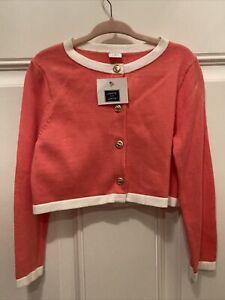 Janie and Jack Girls Sweater NWT Orange Peach White 2015 3 3t NEW Cardigan Coral