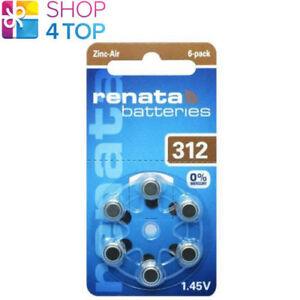 6 Renata Hearing Aid Batteries Taille 312 PR41 1.45V Zinc Air Non Mercury Neuf