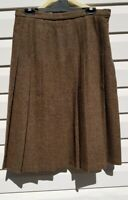 EDINBURGH WOOLLEN MILL Pleated Vintage Brown Plaid Tartan Skirt 16