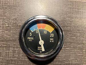 Vintage Supercharger Pressure Gauge SCTA Hot Rod Dash Panel TROG Stewart Warner