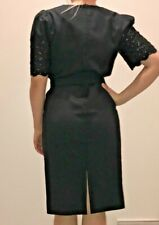 VTG 80s Black Lace Wrap Belted Dress Puff Short Sleeve Small Medium