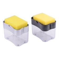 2 in 1 Press Dishwashing Liquid Soap Dispenser Scrubber Plastic