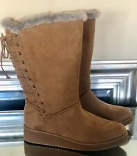Rampage Ram-Perie Micro-Suede Faux Fur Lace-Up Camel Women's Boots Size 9 M