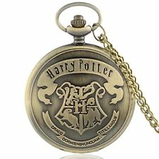 HARRY POTTER HOGWARTS CREST METAL POCKET WATCH CHARM W/NECKLACE *NEW* RARE SALE!