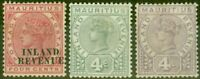 Mauritius 1889 Inland Revenue set of 3 SGR1-R3 Good Mtd Mint