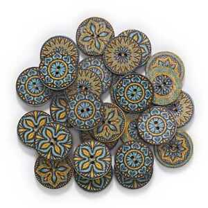 50pcs Retro series Wood Buttons Sewing Scrapbook Clothing Crafts Handmade 15mm