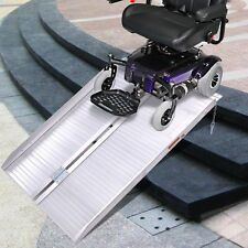 3' Folding Portable Suitcase Mobility Wheelchair Threshold Ramp Aluminum New