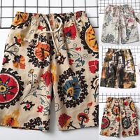 Men Summer Printed Shorts Casual Flower Baggy Half Pants Drawstring Board Shorts