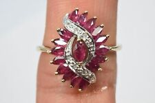 Women's 1.61 ct Ruby & Diamond Antique Cluster Double Row Swirl Ring 14k Gold