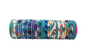 Crochet Glass Seed Bead Nepal Boho Bracelet - Wholesale Turquoise Scheme