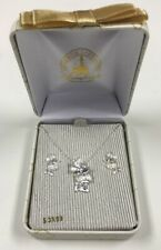 Disney Parks Minnie Mouse Sterling Silver Necklace & Earrings Set New in Box