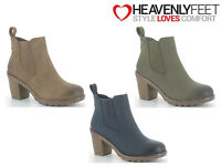 Ladies Ankle Boots Cheslea Pull On Zip Up Winter Fashion Heavenly Feet 'Jessie'