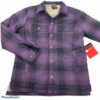 Wolverine Womens Rosewood Shirt Jacket Purple Black Plaid Sherpa Lined S New