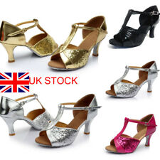 Womens Waltz Latin Heeled Sandals Glitter Ballroom Prom Party Dancing Shoes Size