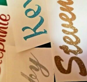 2x Personalised Glitter holographic Name Decals Vinyl Stickers custom made text