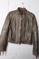 Zara Trafaluc Womens Genuine Leather Brown Bomber Jacket - Size S Small - (L-Q8)