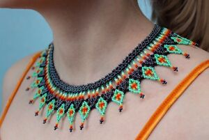 Native American Beaded Necklace, Huichol Necklace, Beaded Bib Necklace