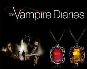 The Vampire Diaries Bonnie Bennett  Amber, Ruby Pendant & Chain / Necklace Set