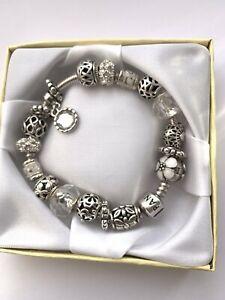 Genuine Pandora Silver Charm Bracelet 19cm with Charms & Clip  #B/4