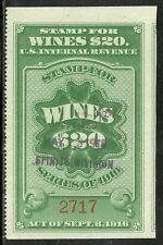 us revenue wine stamp scott re56 - $20.00 issue of 1916 - used