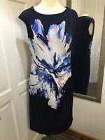ROMAN Navy Blue Large Floral Design Ruched Front Shift Dress Size 14 Flattering