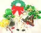 Vintage Christmas Kitsch Celluloid/Flocked Snowman/Bottle Brush Tree/Deer Japan