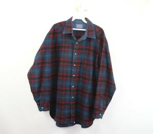 Vtg 60s Pendleton Mens Large Virgin Wool Home Tartan Plaid Rockabilly Shirt USA