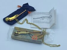 Vintage Brass Boatswain's Call Pipe Bosun's Ship Whistle Nautical with Chain