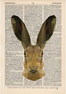 Hare Geometric Dictionary Art Print Vintage Minimalist polygonal