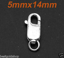 5 X 14mm Secure Lobster Clasp Ring Anti-Tarnish Real Solid 925 Sterling Silver
