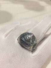 Vintage Large Stainless Steel Illuminati Eye Crest Size 10 Men's Ring