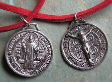 20x24mm silver 3D Jesus Christ Saint St Benedict Cross Red necklace Christian