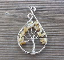 DROP/PEACOCK STYLE CITRINE TREE OF LIFE  WIRE WRAPPED PENDANT GEMSTONE