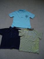 BOYS 3 T-SHIRTS NAVY BLUE LOGON AGE3/4 LIGHT BLUE POLO M&S 4/5 YELLOW STRIPE 3/4
