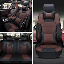 3PCS 5-Seat Car Seat Cover 2xFront+1xRear Microfiber PU Leather Cushion w/Pillow