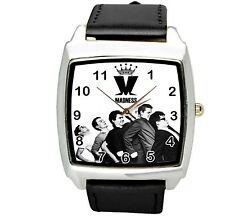 MADNESS BLACK LEATHER MUSIC KING LEGEND BAND SQUARE CD STEEL WATCH UK