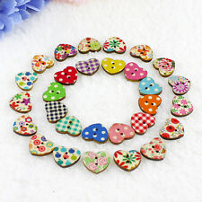 100 Heart Shaped 2 Holes Wood Sewing Buttons Scrapbooking Knopf Bouton Precise