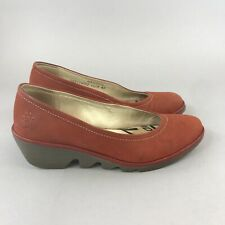 FLY LONDON Yaz Red Leather Slip On Pumps Court Wedge Heels Shoes 40 / UK7