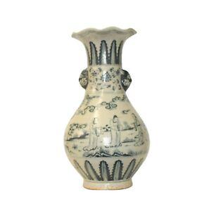 Chinese Oriental Ceramic Cream White People Graphic Vase ws1265