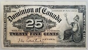 1900 Dominion of Canada 25 Cents paper note! Courtney signature! No pinholes!