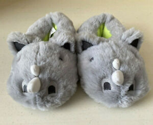 Toddler Fuzzy Grey Rhino Slippers Size M 7/8 Cat And Jack