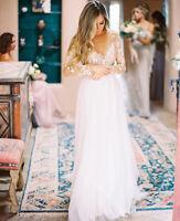 Boho White Ivory Long Sleeve Wedding Dresses Lace Chiffon Beach Bridal Gowns