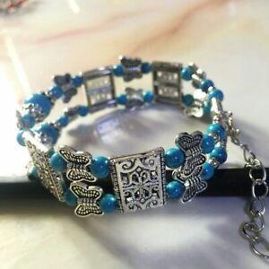 Jewelry Bangle Tibetan Silver Butterfly Bracelet Blue Turquoise Bracelet
