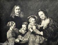 Gravur 1886 Porträt Von Familie Rembrandt D.Ätzspitze Lane 23,2x17,5cm KUNST