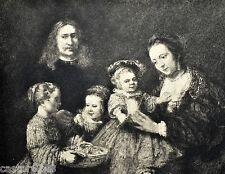 GRAVURE 1886 Portrait de Famille Rembrandt D.Mordant Lallement 23,2x17,5cm L'Art