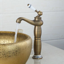 Tall Ceramic Handle Bathroom Basin Sink Mixer Tap Faucet Antique Brass