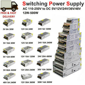 AC 110V-220V to DC 5V 12V 24V 36V 48V Switch Power Supply Regulated Transformer